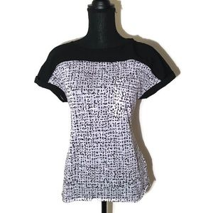 Calvin Klein Jeans Black and White Print Blouse